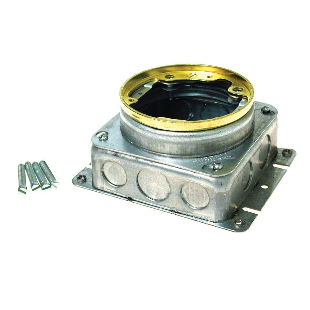 Raco 1 Gang Brass Floor Box Kit With Recessed Duplex 15a Tr Device And Adjustable Steel Box 6239bp Floor Boxes