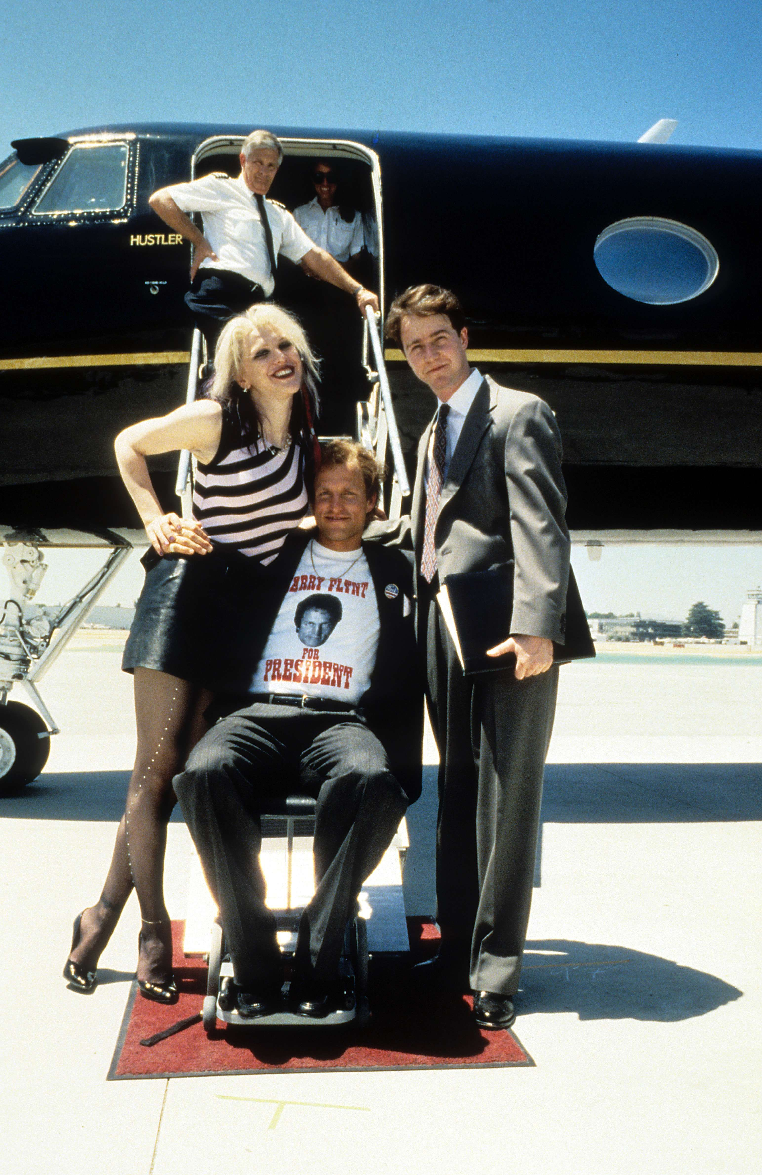 """""""The People vs. Larry Flynt"""" promo still, 1996. L to R"""
