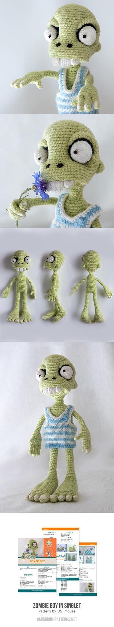 Zombie boy in singlet amigurumi pattern by Ds_mouse | Häkeln, Häkeln ...