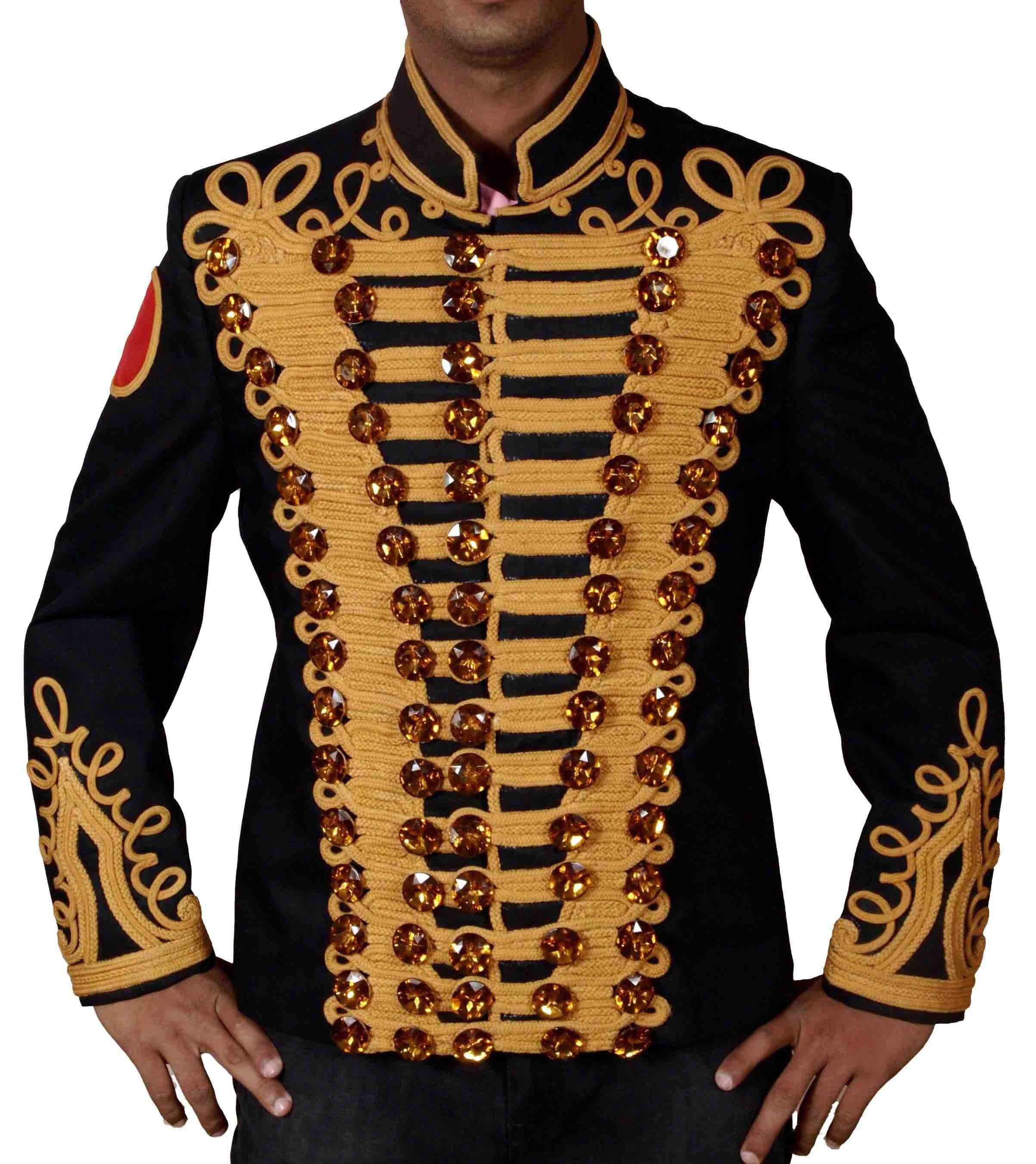 michael jackson golden hand work military jacket with red