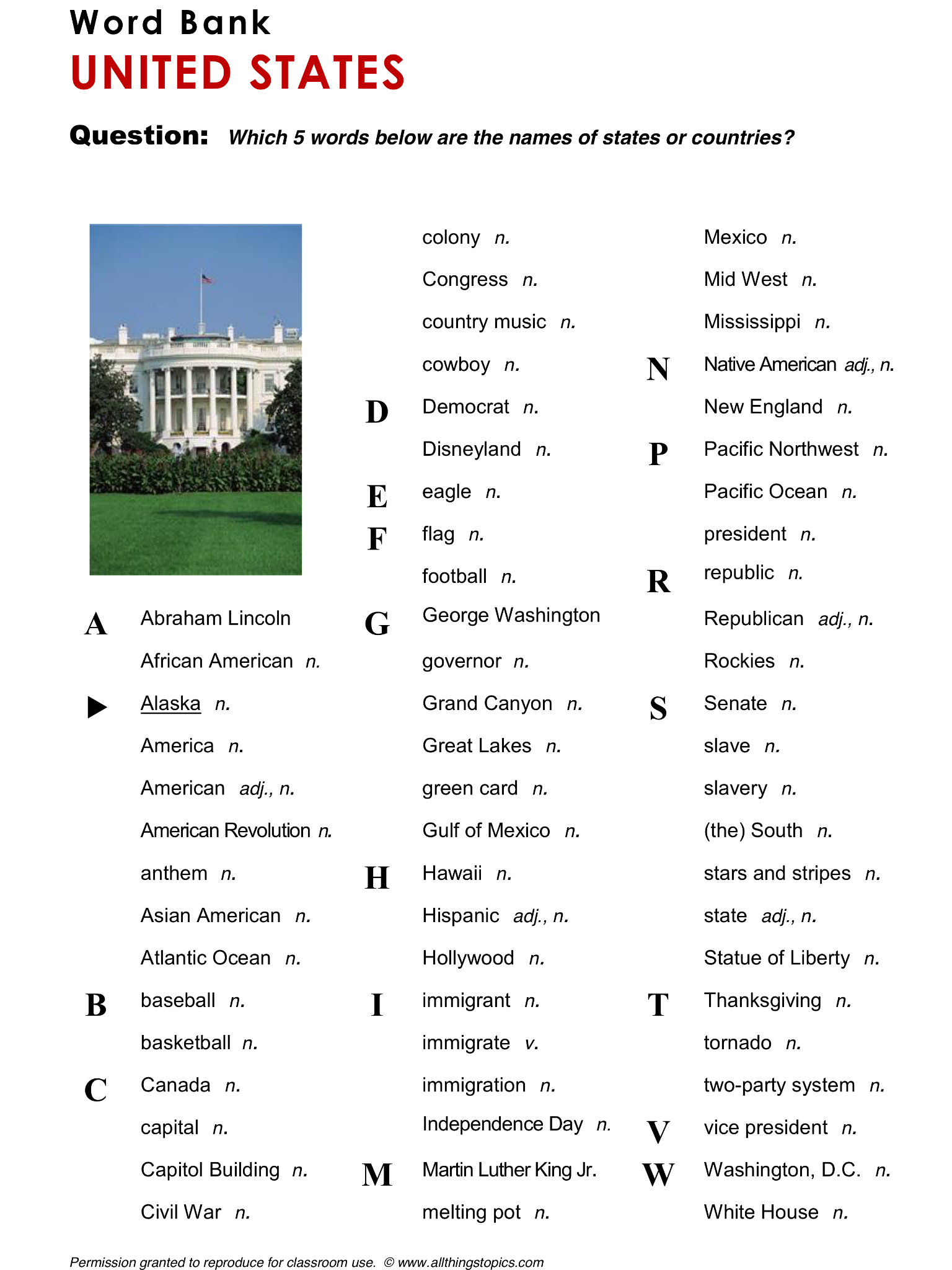 United States, English, Learning English, Vocabulary, ESL, English Phrases, http://www.allthingstopics.com/united-states.html