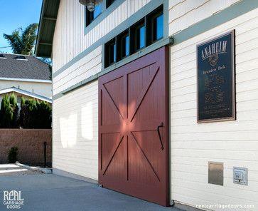 Sliding Red Barn Door Traditional Exterior Los Angeles By Real Sliding Hardware Sliding Garage Doors Carriage Doors Garage Door Makeover