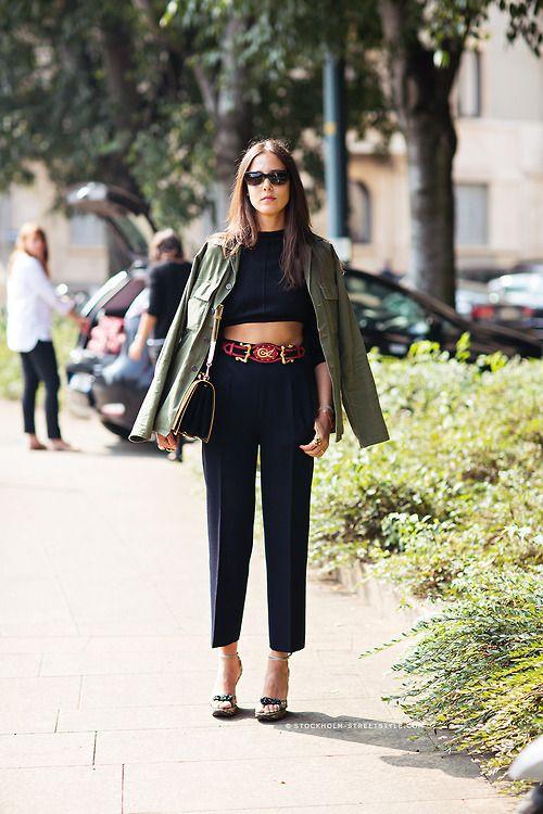 Black dress green jacket in style
