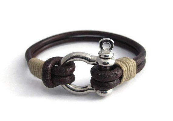 ff28c2cd1005 Shackle clasp leather bracelet, Dark brown strand bracelet ...