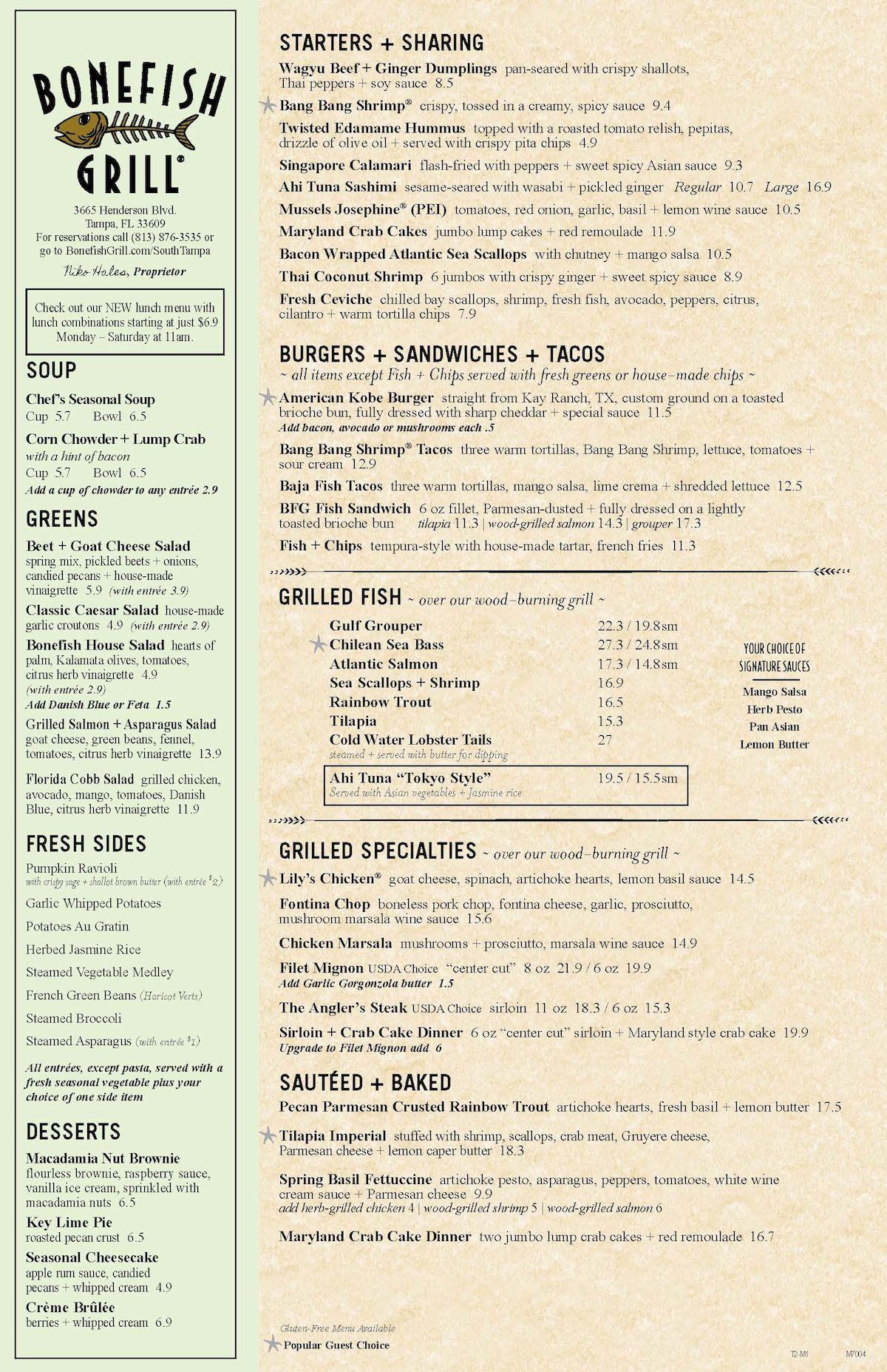 Bonefish Grill Us Wwwbonefishgrillcom Menus Restaurant