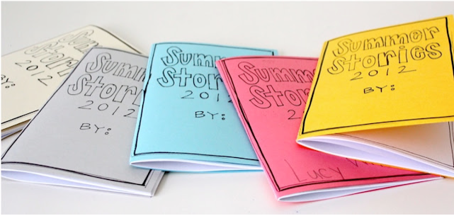 DIY for Handmade summer story journals - love this so much! Better than a black composition book.