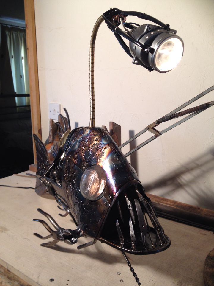 Steampunk Angler Fish Desk Lampmade From Scrap Metal Old Tools - Anglerfish chair with a big lamp