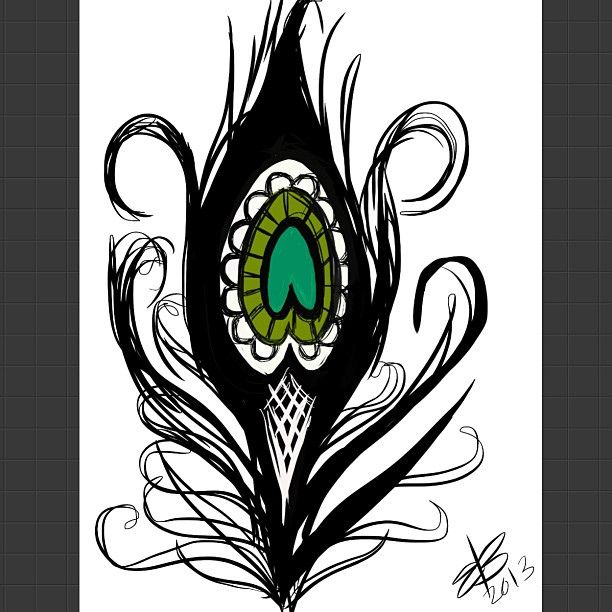 quick sketch of the type of peacock feather tattoo i want