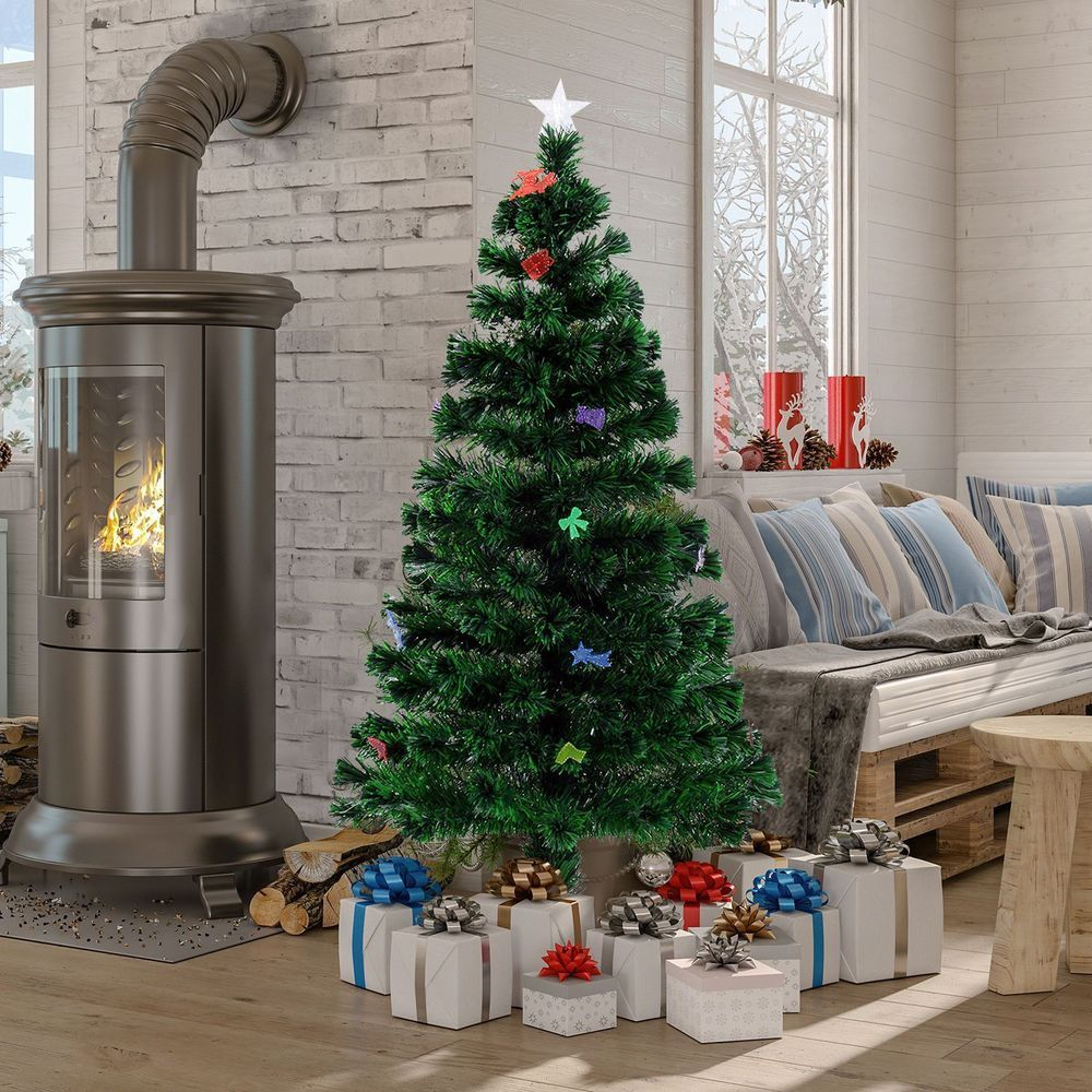 holiday christmas tree with ornaments easy to assemble made of solid metal frame