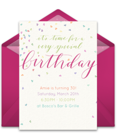 Online invitations from birthday invitation templates girl tons of free girl birthday invitation templates we love this free colorful confetti invite perfect for inviting friends to a vibrant pink birthday party filmwisefo