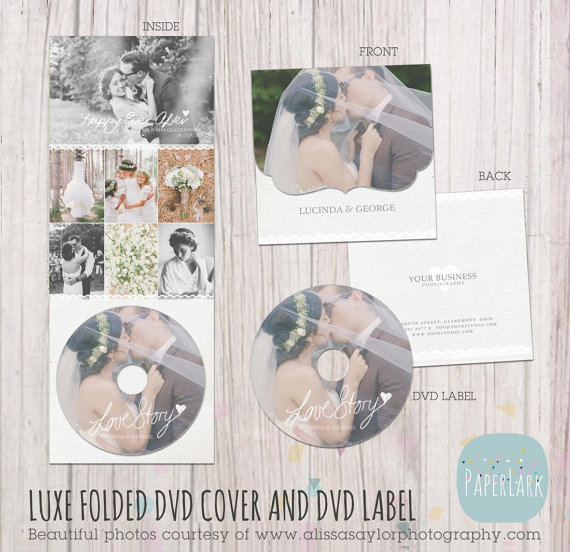 Wedding Luxe dvd Case and Label - Photoshop Template -DW003- INSTANT