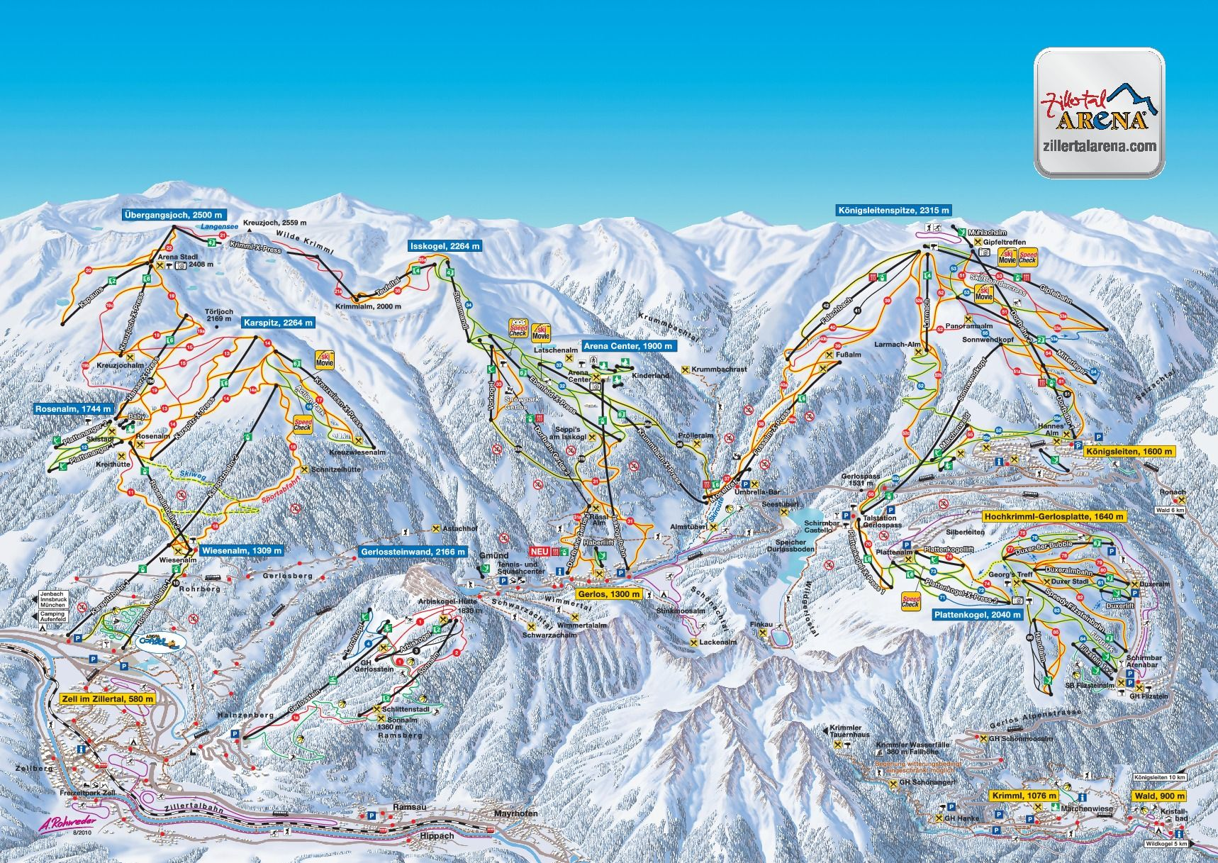 Published In 2016 At Zillertal Arena Panoramic Map Austria Winter