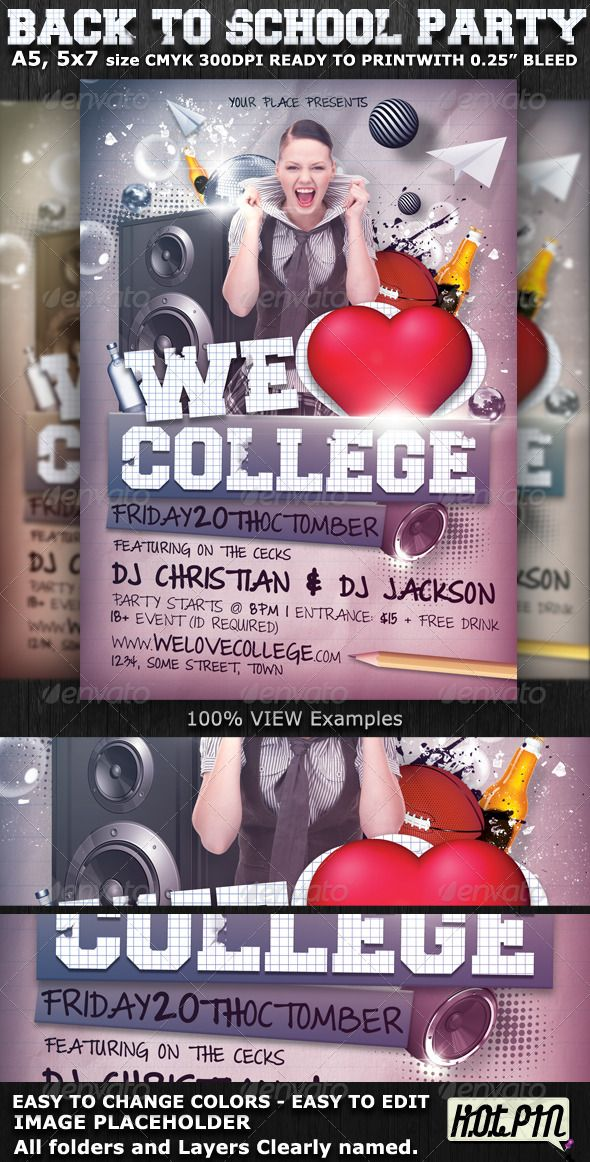 We Love College Party Flyer Template College parties, Party - baseball flyer