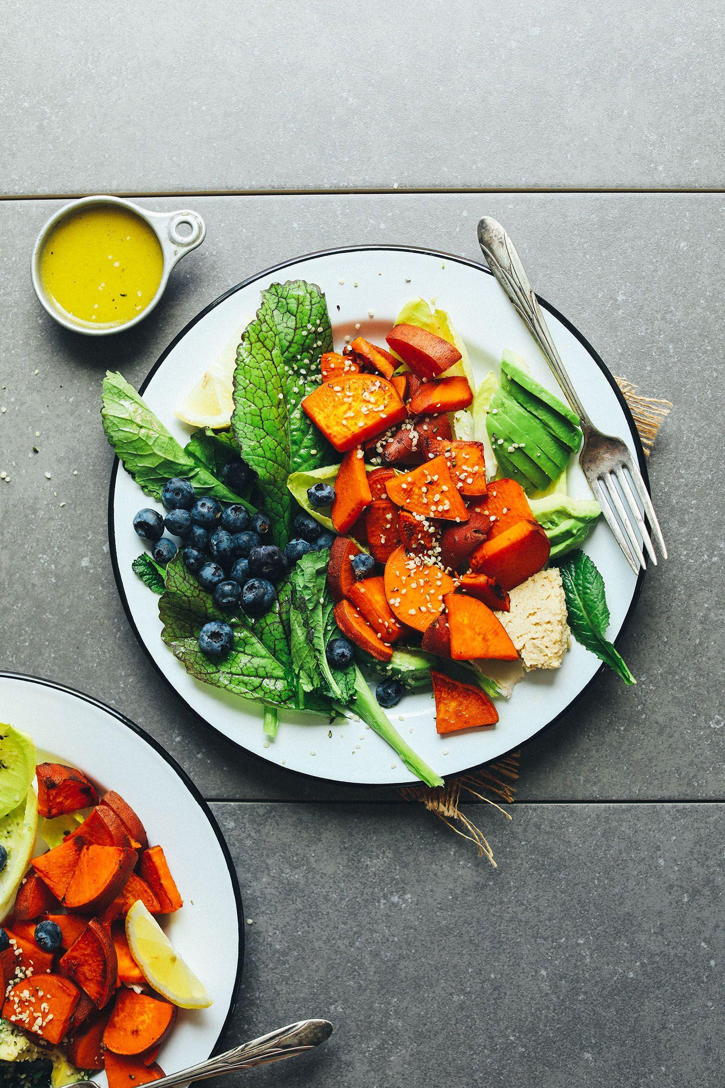 Blueberry Sweet Potato Breakfast Salad Minimalist Baker Recipes Recipe 10 Healthy Foods Sweet Potato Breakfast Blueberry Salad