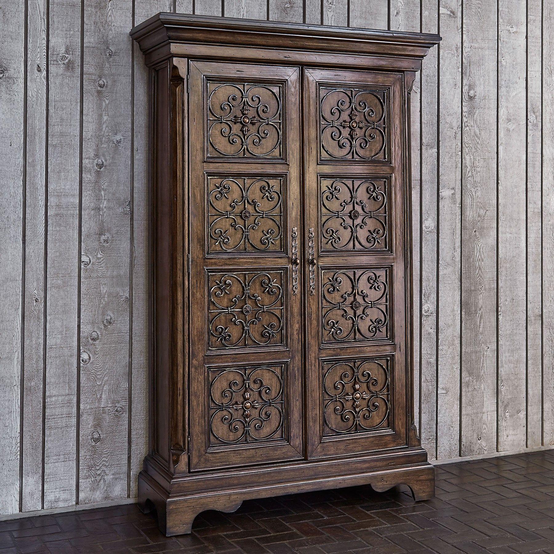 Madrid Armoire   Mindi Wood With Had Wrought Iron Panels. Medium Brown Distressed  Wood Finish