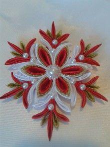 Dekorácie - vianočná vločka kanzashi ,, červene zlato ,, - 7486140_