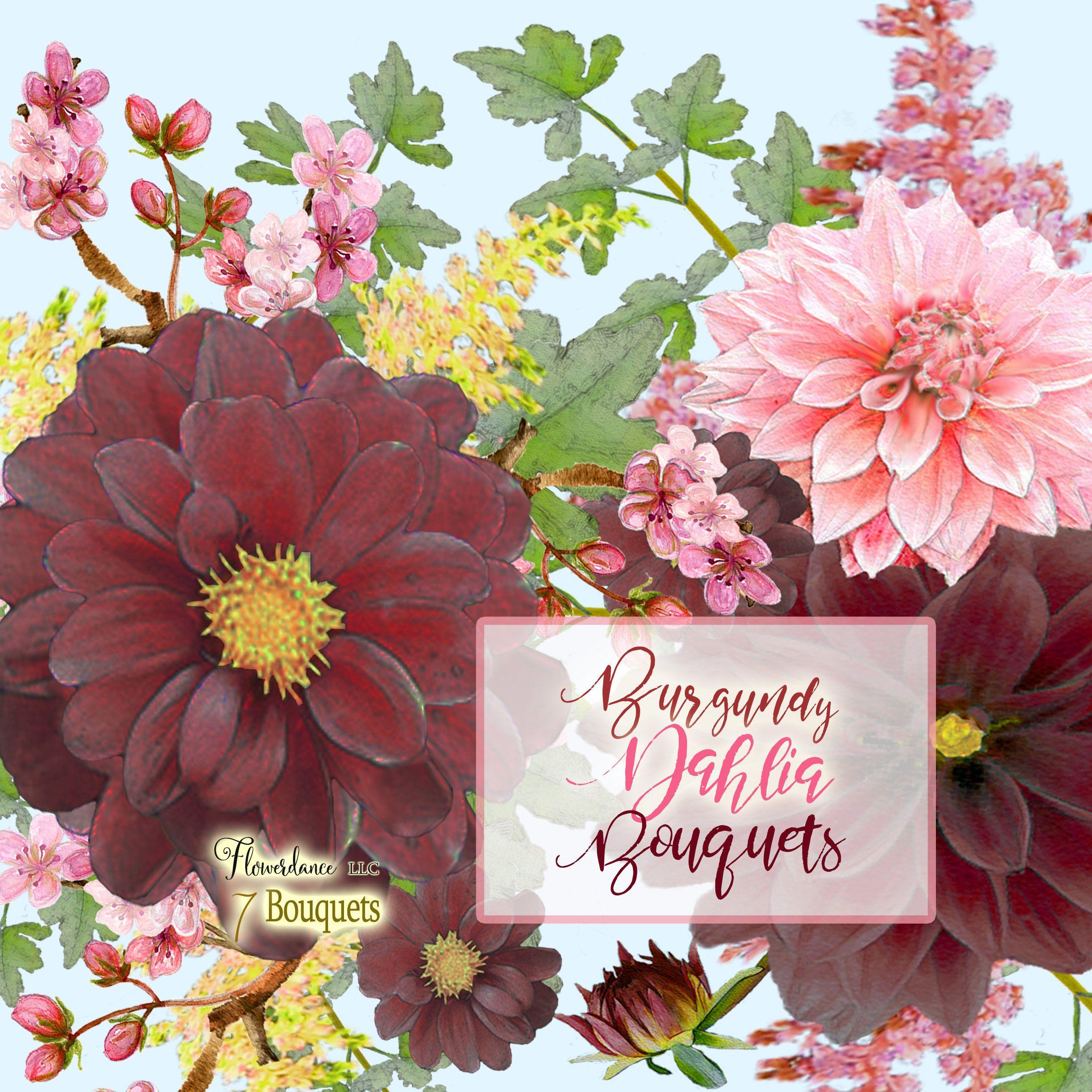 Burgundy Dahlia bouquet clipart, burgundy clipart, dalhia flower ...