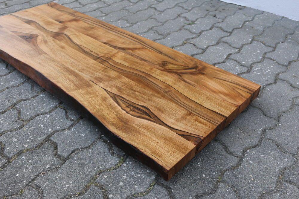 Waschtisch Tischplatte Platte Nussbaum Massiv Holz Mit Baumkante