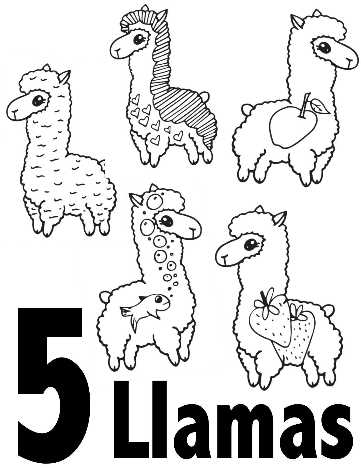 Llama Numbers 1 10 Free Printable Coloring Pages Preschool Kindergarten Stevie Doo Kindergarten Coloring Pages Free Kids Coloring Pages Free Coloring Pages