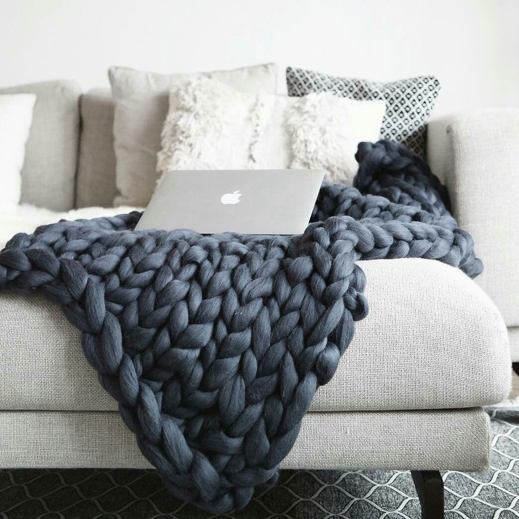 Thick Woolen Throw Handmade Merinowool Plaids Xxl Wool Leather Grey White Antracite Wool Animal Friendly Knittin Blanket Woolen Throw Knitted Blankets