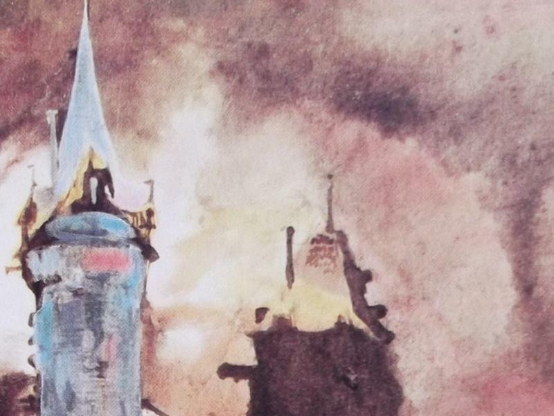 Ce détail du0027un dessin de Victor Hugo représente une tour bleue