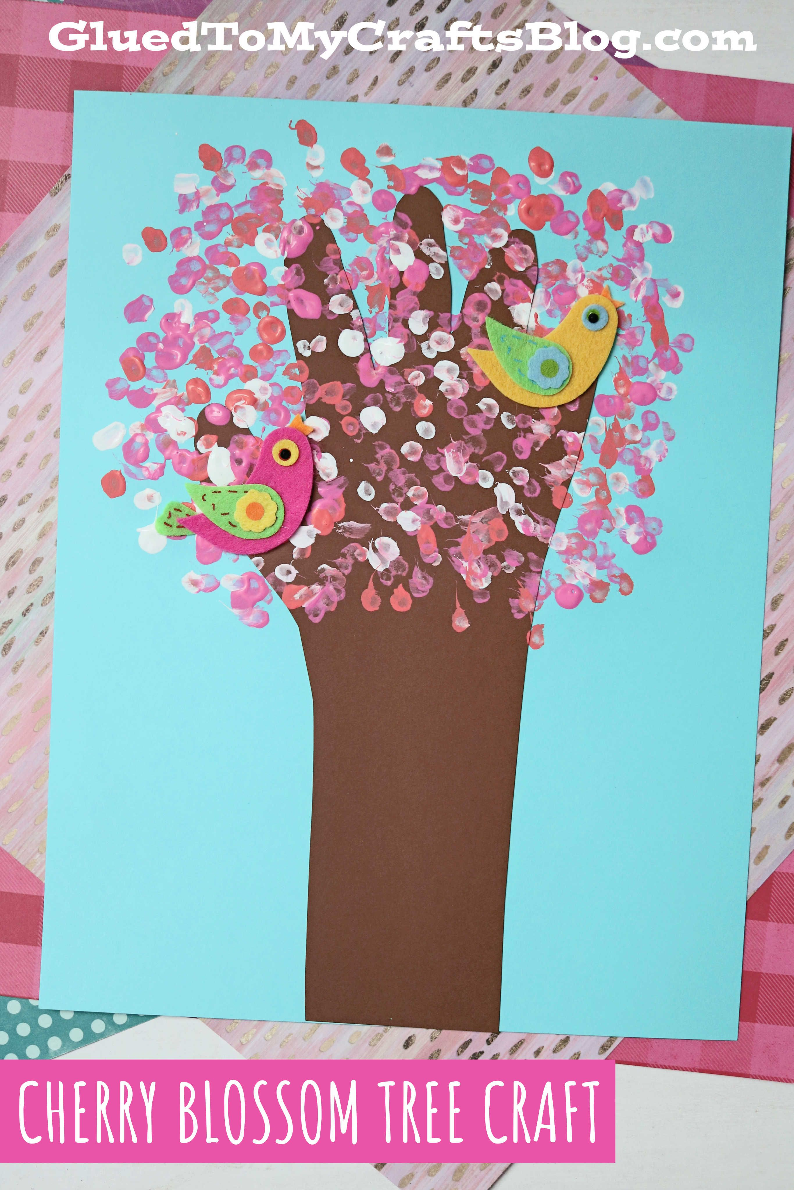 Q Tip Painted Handprint Cherry Blossom Tree Kid Craft In 2021 Cherry Blossom Tree Q Tip Painting Spring Crafts For Kids