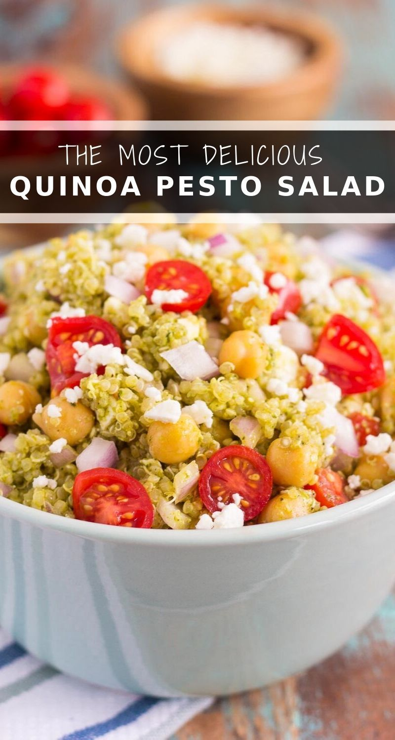 This Quinoa and Chickpea Pesto Saladis filled with chickpeas, hearty quinoa, cherry tomatoes, red