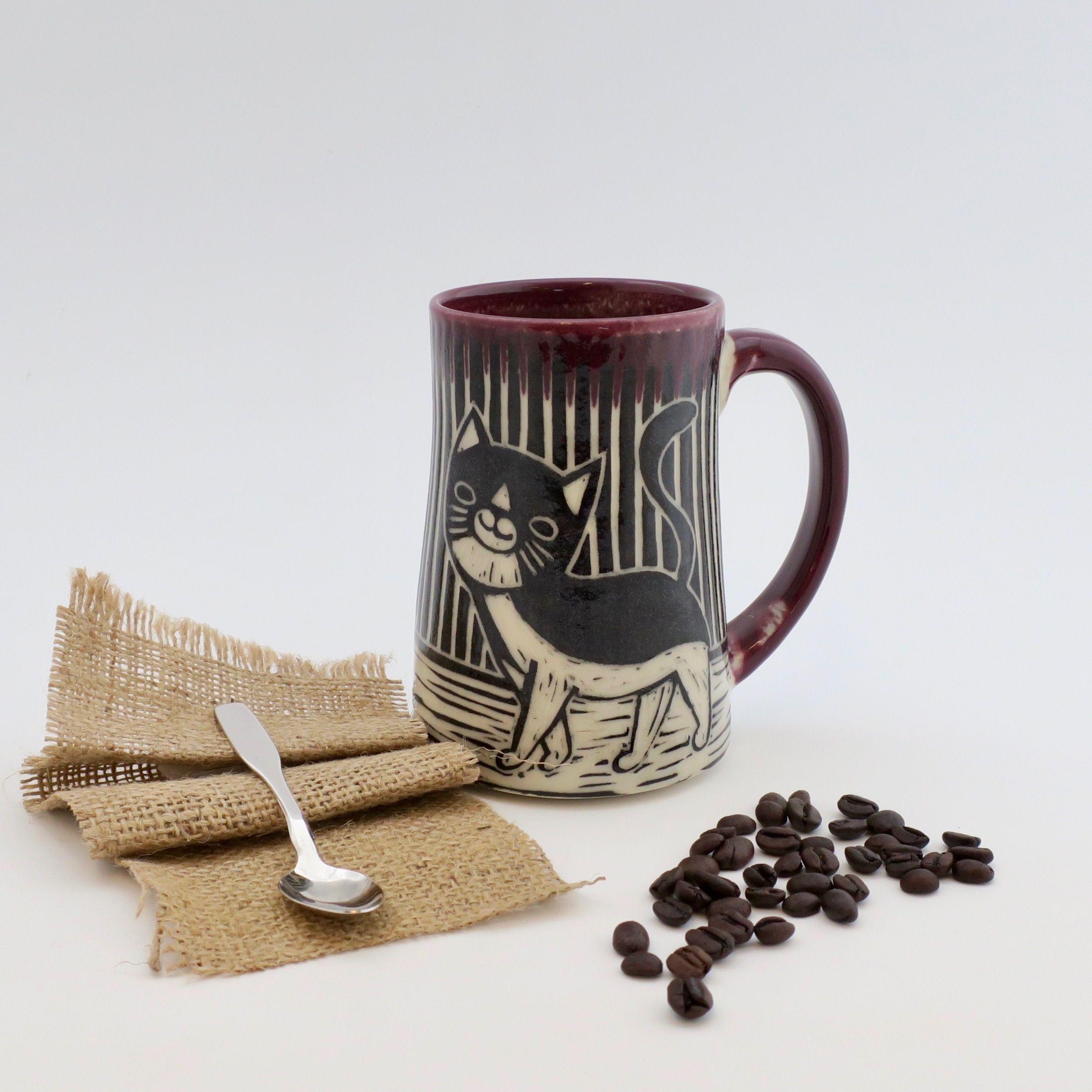 Hand-Carved Porcelain Stoneware Cat Mug