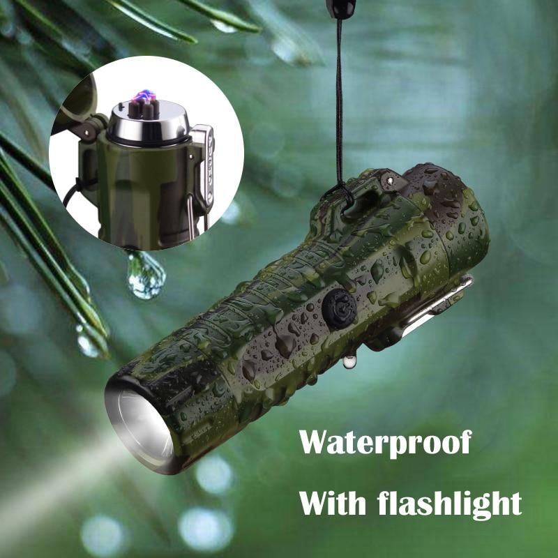 Waterproof Double Arc Pulsed Electronic Plasma Usb Charging Lighter Arc Light Flashlight Electric Lighter