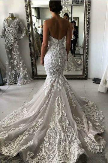 Photo of Sexy Mermaid Ivory Lace Appliques Backless Wedding Dresses Wedding Gowns W1011
