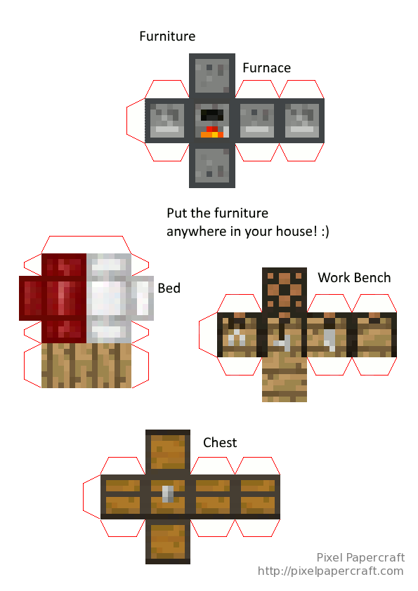 Papercraft Mini House With Tree In Full Color Paper Crafts Papercraft Minecraft Skin Minecraft Printables