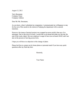 This Printable Resignation Letter Shortens An Original Notice