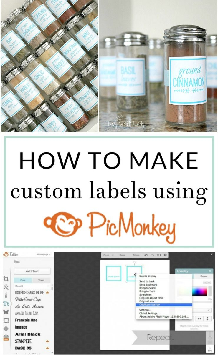 diy spice jar labels using picmonkey in 2018 organize store