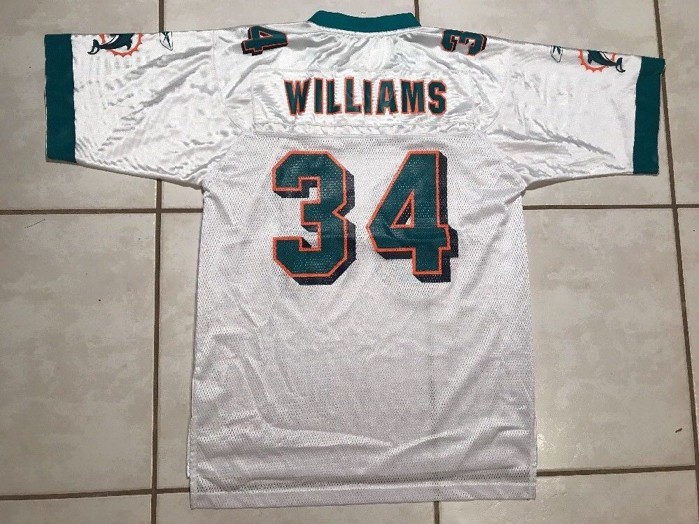 Vintage REEBOK Miami Dolphins NFL Ricky Williams WHITE Jersey Men s Medium   08690062f