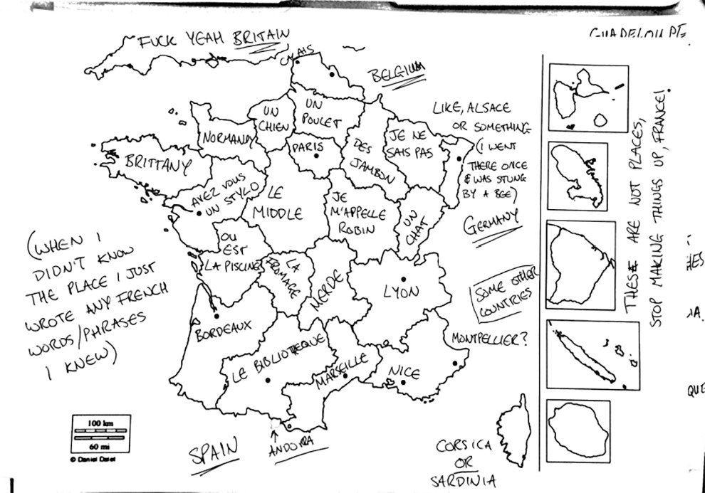 On a demandé à des Britanniques de remplir une carte de la France   Carte de france, Géographie ...