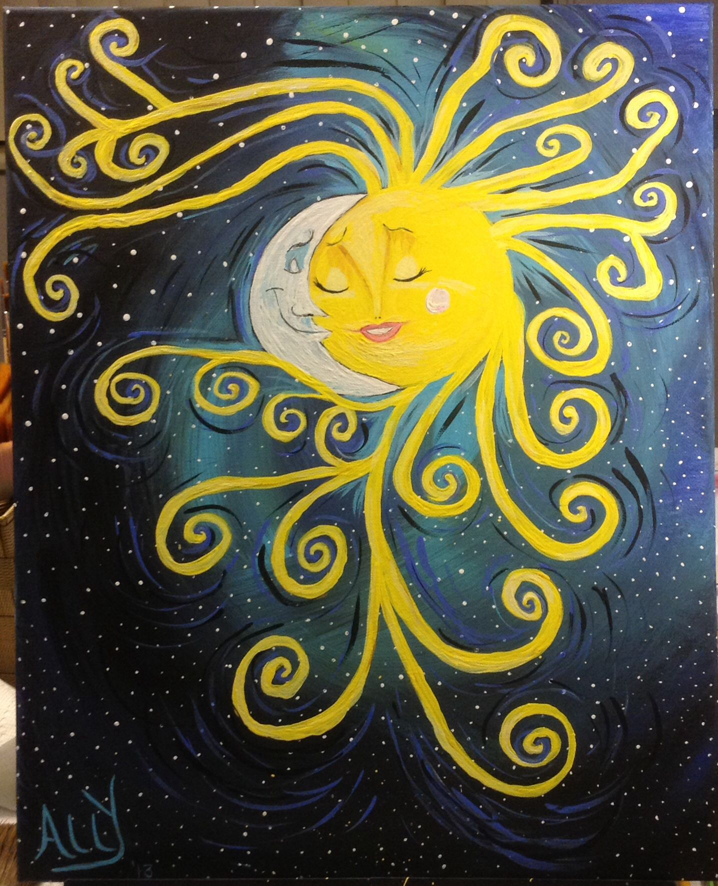 Sun Moon And Stars Ally Leitch On A 16x20 Canvas With Acrylics Www Paintpartyonwheels Com Moon Painting Canvas Moon Painting Moon Art