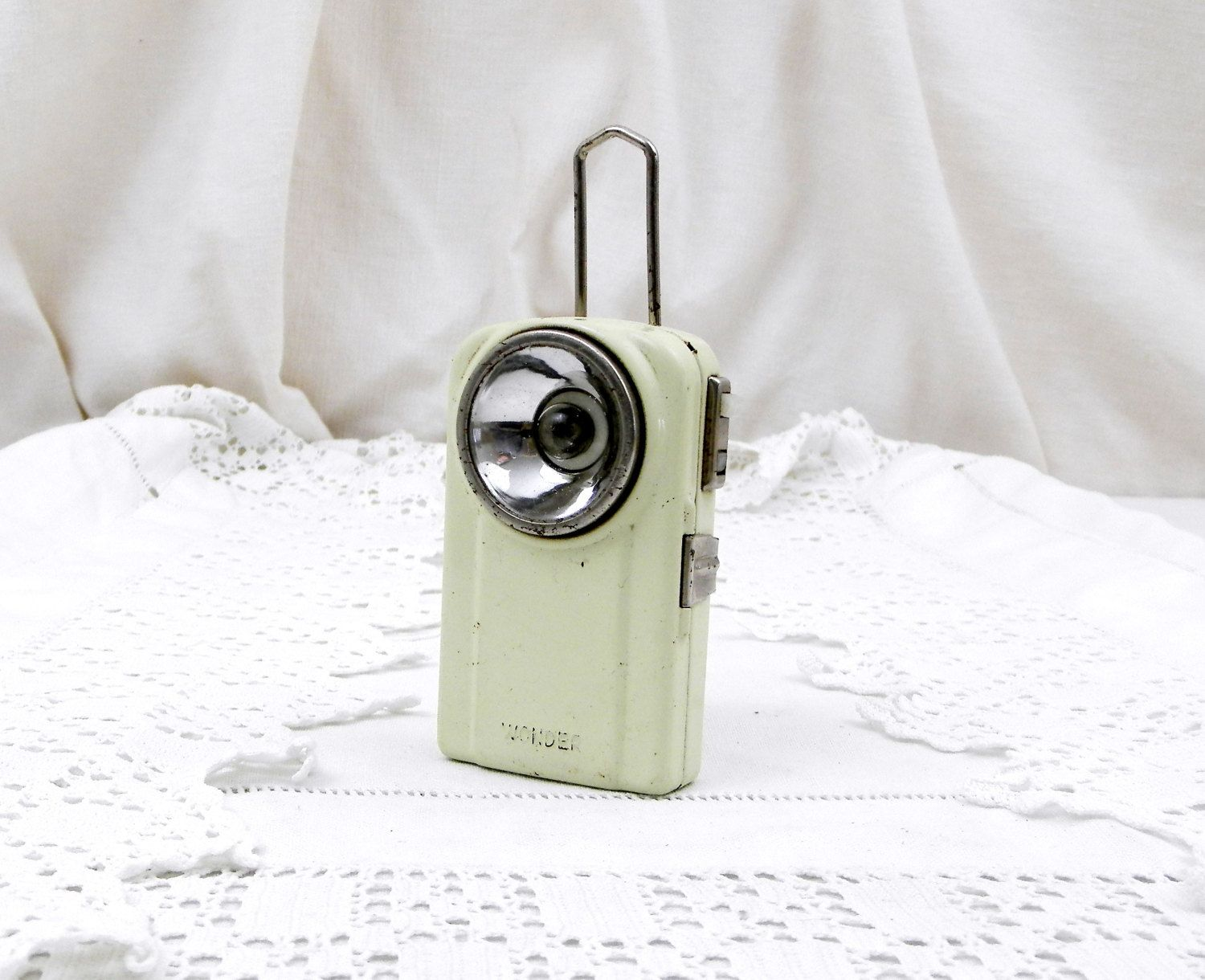 Small Vintage French White Hand Held Metal Wonder Flashlight / Torch, Searchlight, Upcycled, Decor, Industrial, Retro, Lamp, Lantern, Light by VintageDecorFrancais on Etsy