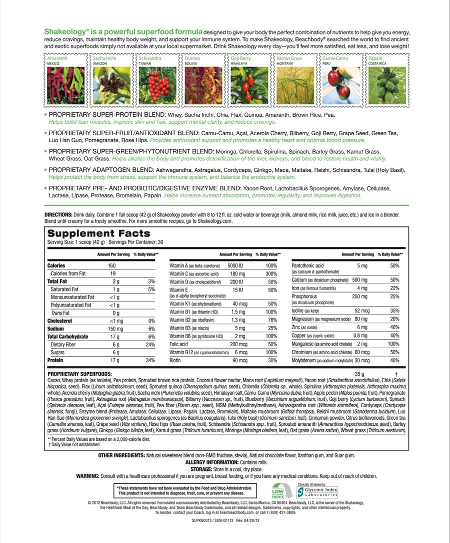 chocolate shakeology ingredient list. need help? let's connect
