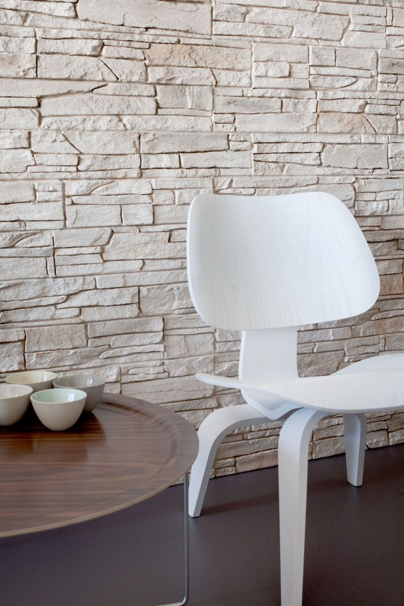 Interior Stone Wall natural-stone-wall-decor-with-white-acrylic-chair-also-round-wood