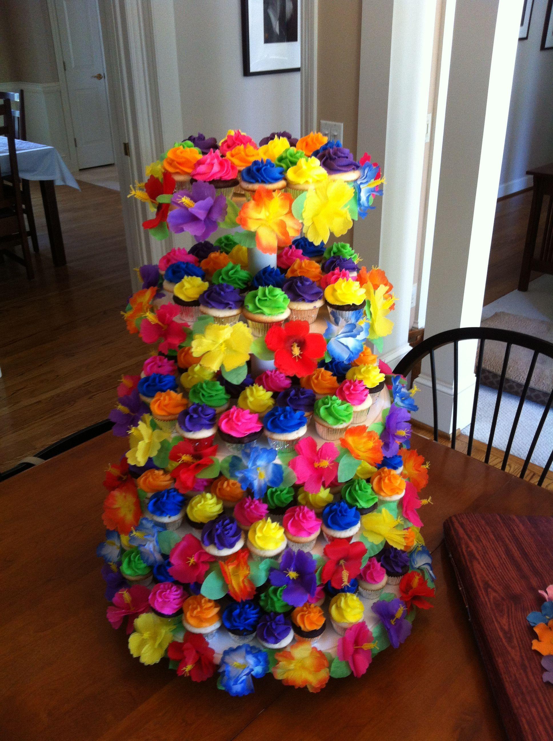 Luau Cupcake Tower Kates Birthday Party Nomnom