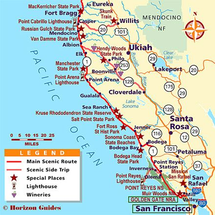 California Coast Vacation Travel Guide hotels maps photos