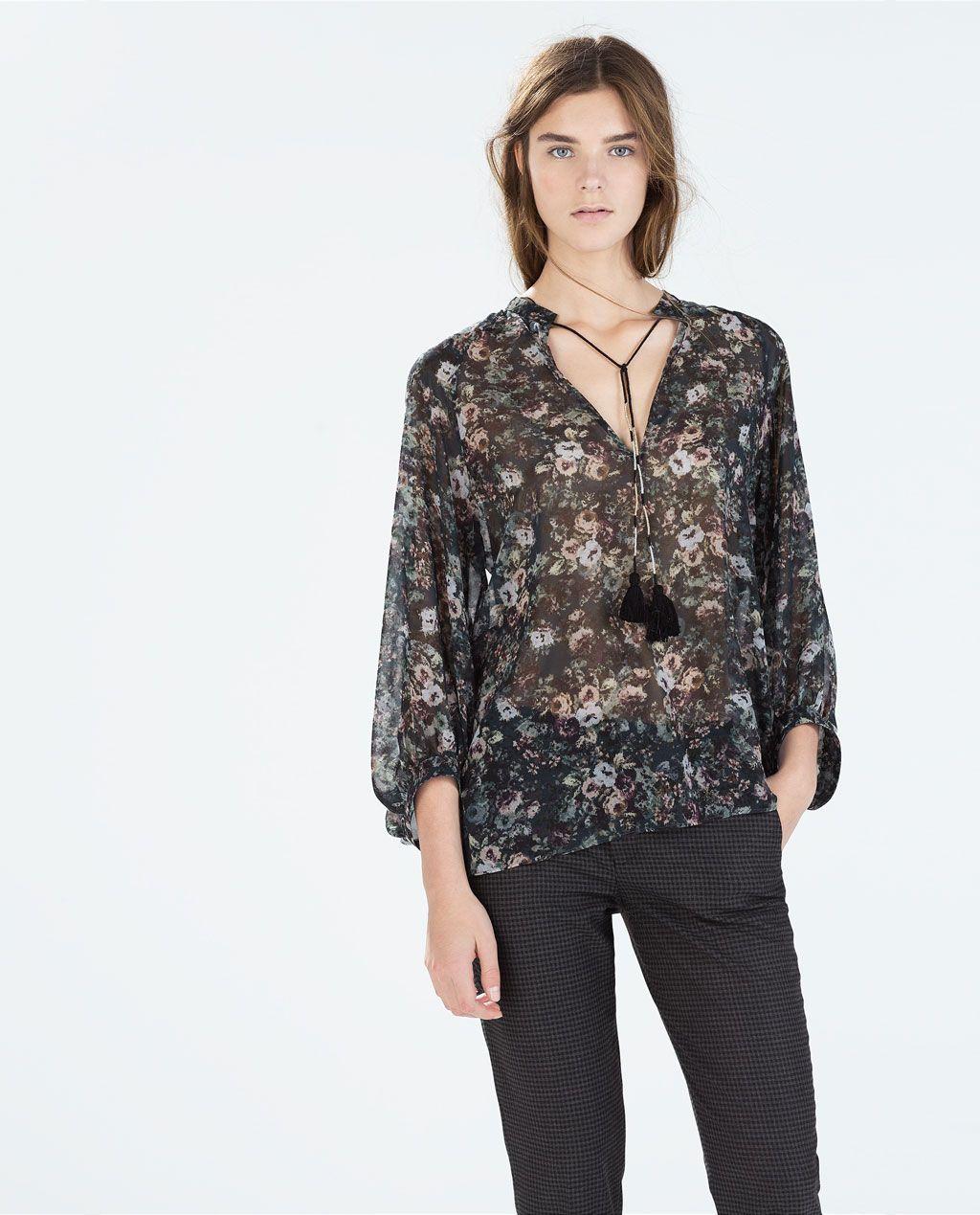 ZARA Donna | Camicia stampata spacchetti laterale nappe