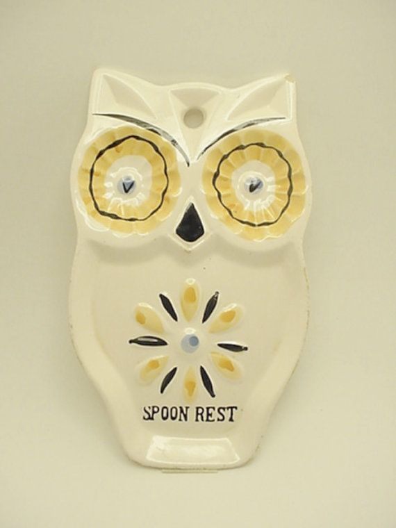 Vintage Owl Spoon Rest DELIGHTFUL Wall Hanging by VintageRelief ...