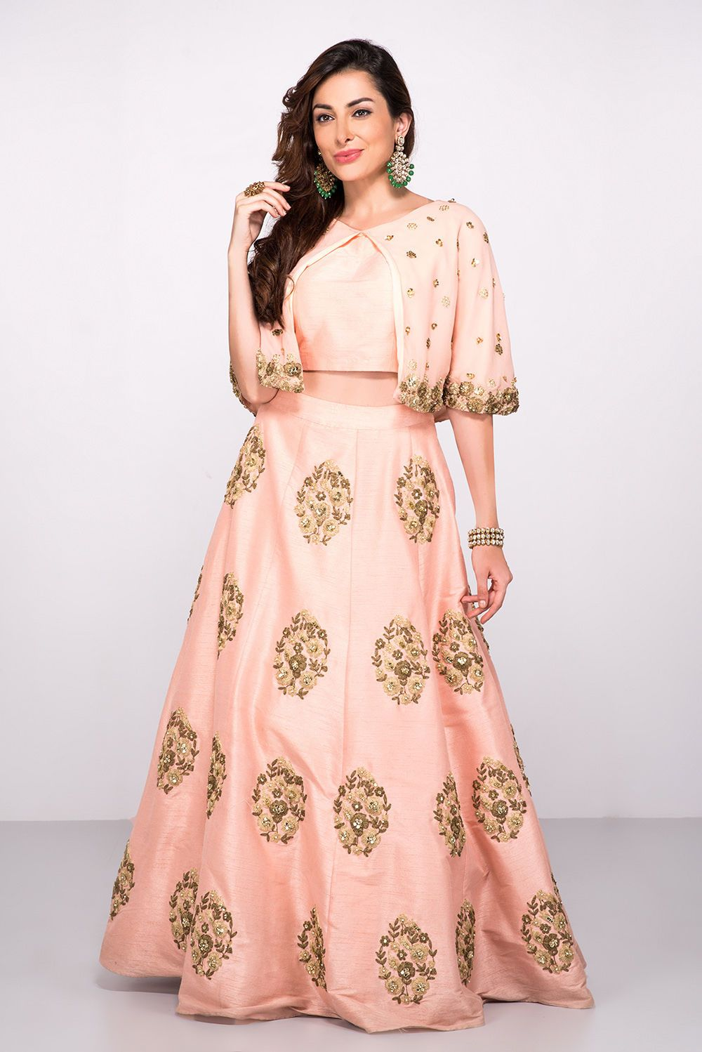 92e2de64190ae Rent ABHILASHA - Peach Cape Style Crop Top And Skirt