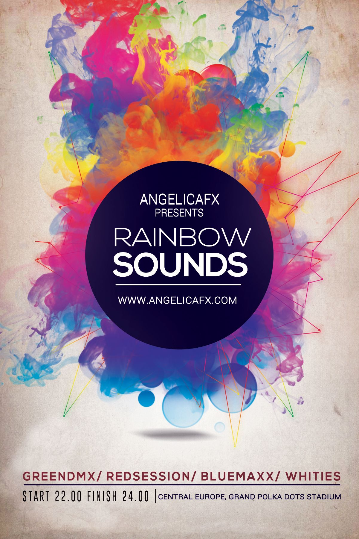 rainbow sounds psd flyer  poster template