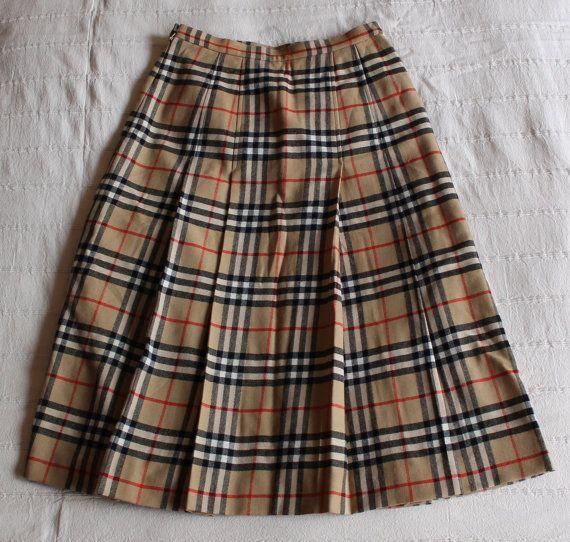 60b5e09f44 BURBERRY Plaid Skirt Womens Kilt Nova Check High by SintraShop ...