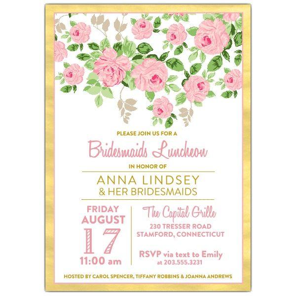lancashire rose bridesmaids luncheon invitation weddings