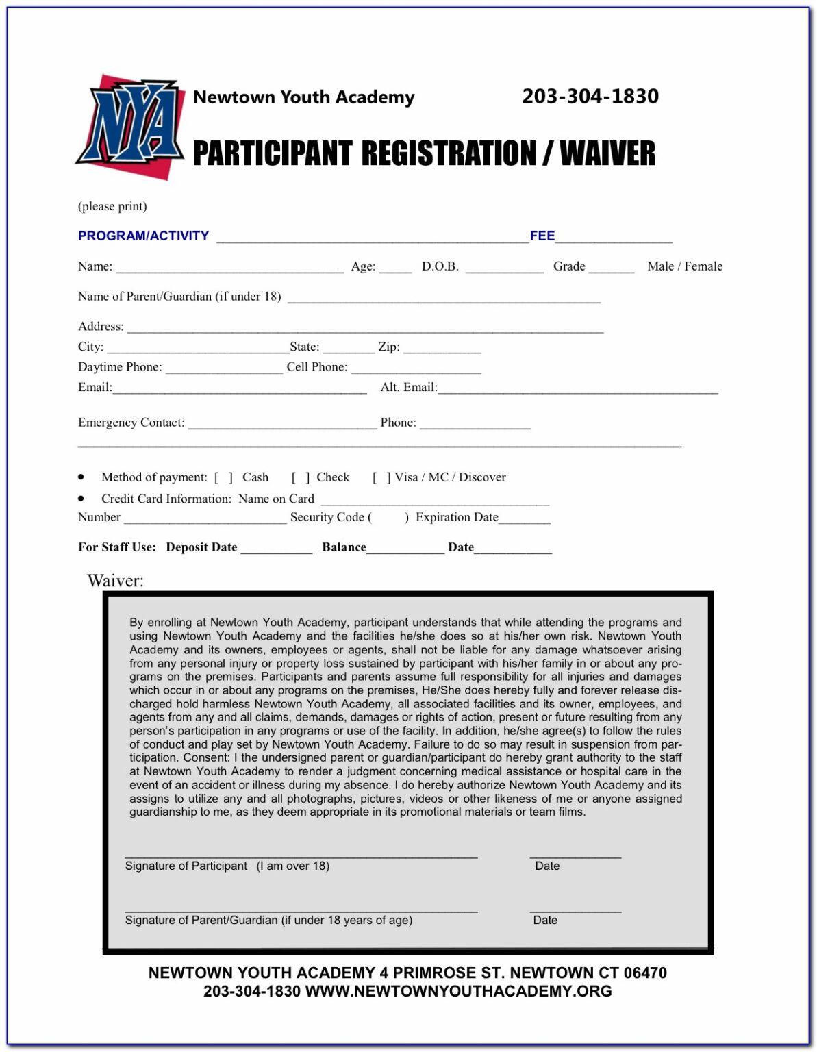 Printable Registration Form Template Sports Nancy Release In Registration Form Template Word Free Registration Form Word Free Event Planning Forms