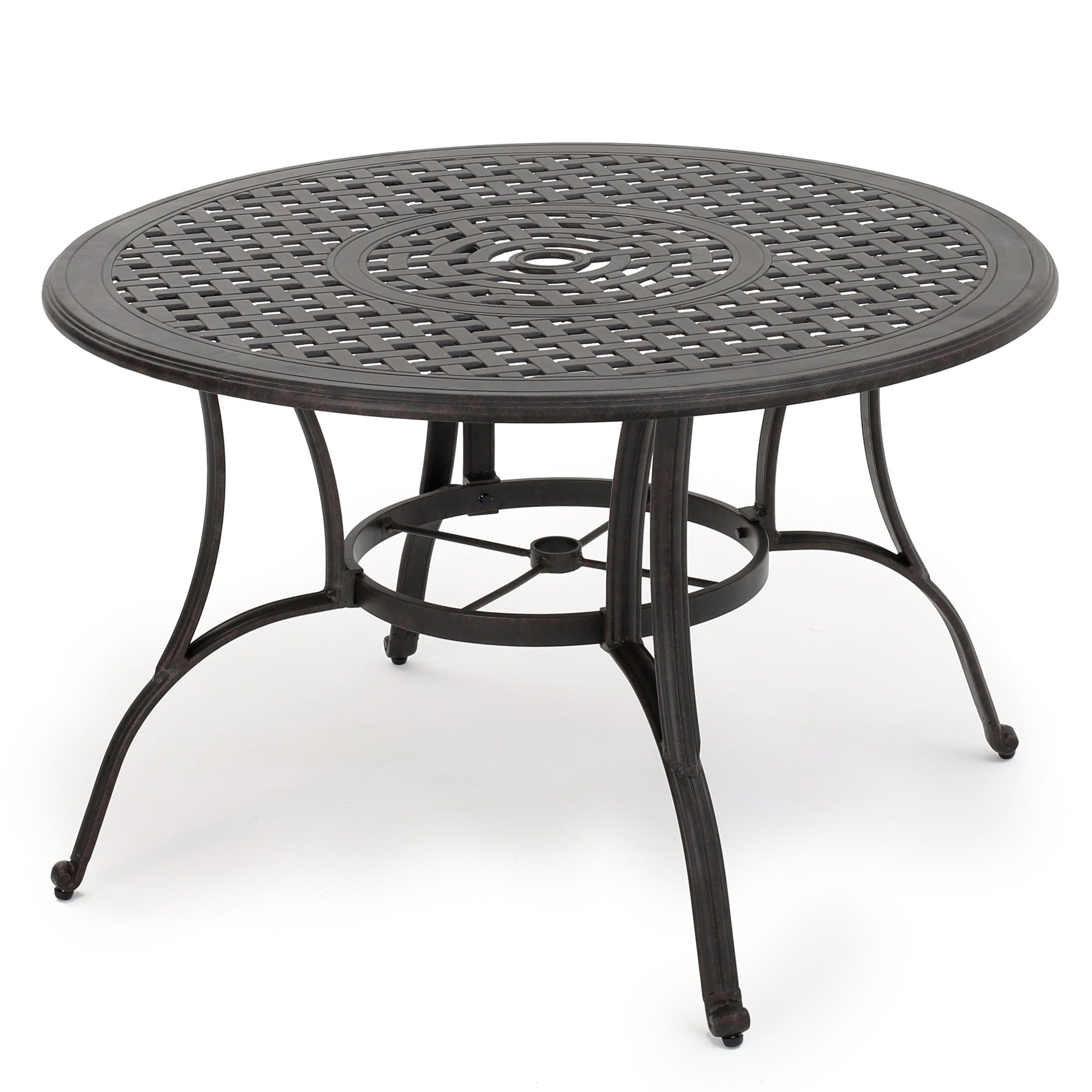 Alfresco Outdoor Cast Aluminum Circular Dining Table (Only) By Christopher  Knight Home (Bronze