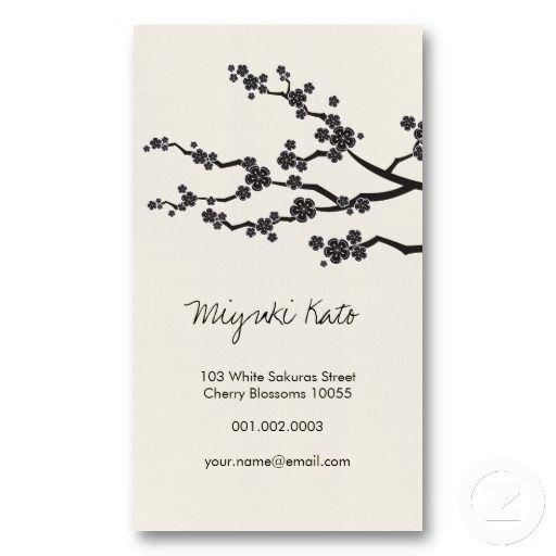 Black Sakura Cherry Blossoms Flowers Oriental Zen Business Card - business invitation template